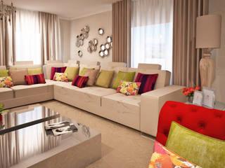 GRAÇA Decoração de Interiores 现代客厅設計點子、靈感 & 圖片