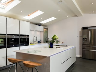 Nobilia Project 11 Gloss lacquer in white with continuous handle rail Eco German Kitchens Modern kitchen MDF White