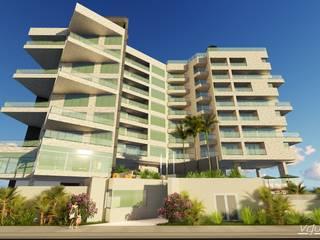 """Conjunto de Apartamentos """"Puerto Plata"""" Balcones y terrazas de estilo moderno de Grupo JOV Arquitectos Moderno"""
