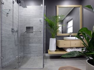 Beach Front House Eclectic style bathroom by JSD Interiors Eclectic Wood Wood effect