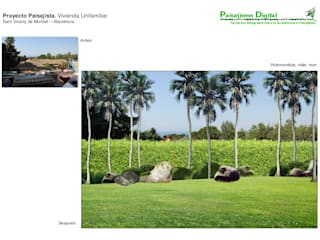 Foto del antes y  Fotomontaje vista hacia el mar:  de estilo  de Paisajismo Digital