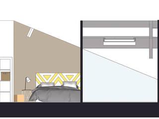Vue déployée 2D : chambre scandinave:  de style  par AUDELIA HOME DESIGN