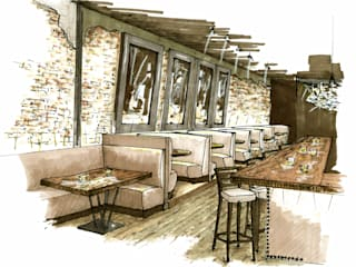 Andrea Schumacher Interiors Bar & Club in stile rustico
