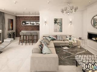 Dom z nutą glamour: styl , w kategorii Salon zaprojektowany przez Kolorum Projektowanie Wnętrz
