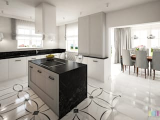 Dom z nutą glamour: styl , w kategorii Kuchnia zaprojektowany przez Kolorum Projektowanie Wnętrz