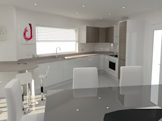 Modern White & Dark Elm Kitchen, Silestone Worktops & Gold Splashbacks Modern kitchen by Meridien Interiors Ltd Modern