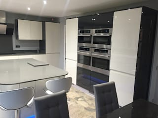 Handleless Modern Welford Bright White and Graphite Kitchen Modern kitchen by Meridien Interiors Ltd Modern
