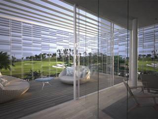 Vista dalla camera da letto Camera da letto moderna di effesseprogetti® Moderno Vetro