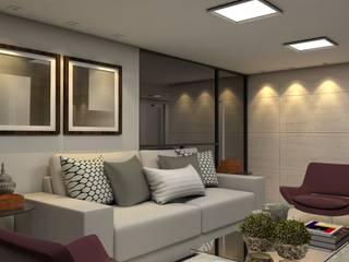 Projeto de Arquitetura e Interiores para áreas sociais de um Edifício Multifamiliar: Salas de estar  por Tárcyla & Savane Arquitetas Associadas