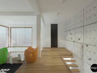 Nowoczesna willa w Milanówku. Nowoczesny korytarz, przedpokój i schody od TISSU Architecture Nowoczesny