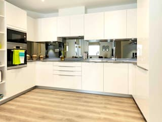 U-Shape Cream Ivory colours gloss Kitchen design Schmidt Kitchens Barnet Commercial Spaces Quartz Beige