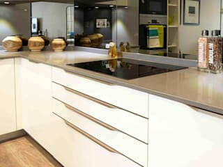 U-Shape Cream Ivory colours gloss Kitchen design Schmidt Kitchens Barnet Commercial Spaces MDF Beige