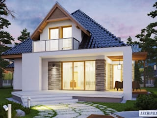 PROJEKT DOMU AMIRA G1 - stylowa elegancja i maksimum wygody! Nowoczesne domy od Pracownia Projektowa ARCHIPELAG Nowoczesny