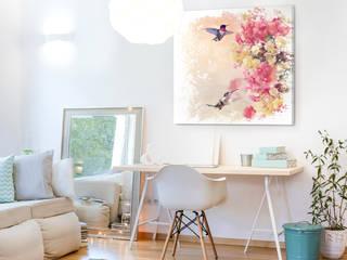 Obraz z kwiatami i kolibrami: styl , w kategorii  zaprojektowany przez BIMAGO.PL