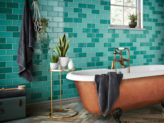 Teal Antique Crackle Metro Tiles Walls and Floors Ltd Paredes y pisosRevestimientos de paredes y pisos Cerámico Turquesa