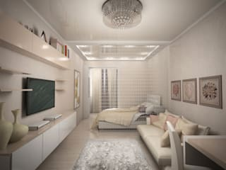 Городская квартира в серо-бежевом: Спальни в . Автор – Дизайн группа ПЯТЫЙ ЭЛЕМЕНТ