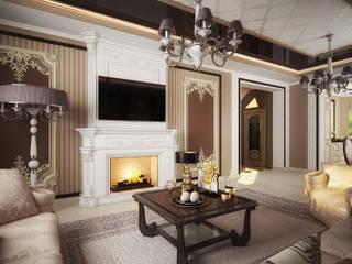 Проект 2х этажного дома в современном классическом стиле: Гостиная в . Автор – Инна Михайская,