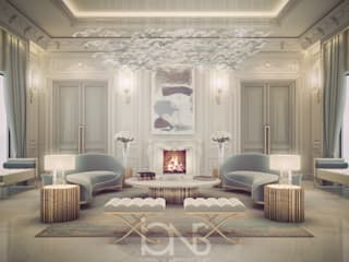 Vibrant Lounge Room Design IONS DESIGN Modern living room Marble Grey