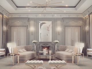 Lounge Room Design in Refined Transitional Style IONS DESIGN Modern living room Marble Beige