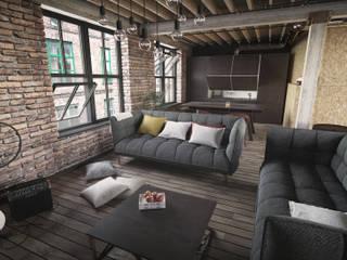 industrialne wnętrze Industrialny salon od GoodDesign Industrialny