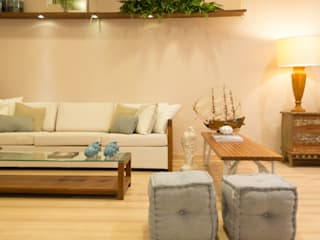 Duo Arquitetura Tropical style living room Solid Wood Beige