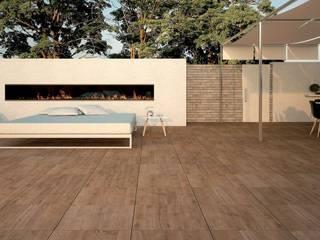 Terrassenbau   Keramik im 60er Format gartentyp GmbH Industrialer Balkon, Veranda & Terrasse