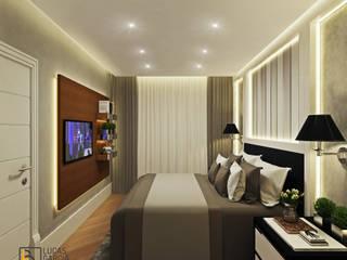 Quarto de casal - Projeto de apartamento compacto: Quartos  por Lucas Garcia Bonini - Designer de Interiores