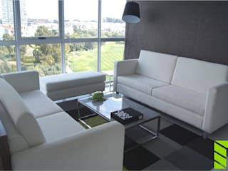 Departamento La Vista Country Club: Salas de estilo  por Beta Factoria de Puebla SA de CV