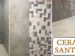 Reforma de baño Cerámicas Santa Cruz Baños de estilo moderno Azulejos Gris