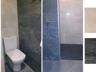 reforma de baño en grises e imitación piedra Cerámicas Santa Cruz Baños de estilo moderno Azulejos Gris