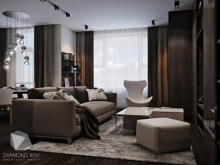 Дизайн интерьера квартиры.: Гостиная в . Автор – Архитектурная группа 'ДАЙМОНД' , Модерн