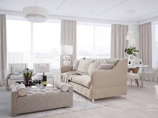 Дизайн-проект квартиры: Гостиная в . Автор – Архитектурная группа 'ДАЙМОНД' , Минимализм
