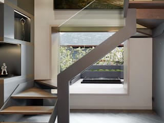 Modern Corridor, Hallway and Staircase by Molins Design Modern