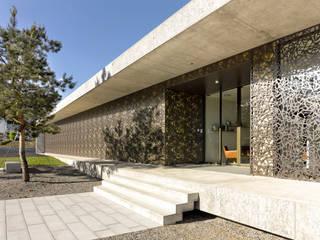 Filigrane Fassade bricht die Schwere des Betons. BRUAG AG Industriale Bürogebäude Holz-Kunststoff-Verbund