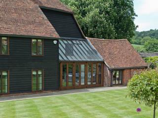 Barn Conversion with Oak Conservatory Konservatori Gaya Rustic Oleh Vale Garden Houses Rustic