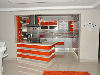 Orange and Silver Niemann Kitchen with Cesar Stone Work Tops. Expert Kitchens and Interiors Modern kitchen