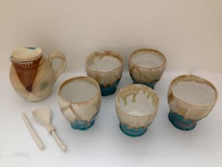 Group of Asian Style Cups, Milk Jug, spoon and mixer:   by Ceramic Language. Adriana Sambrano