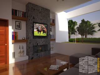 SALA TV CON VISTA EXTERIOR: Pasillos y recibidores de estilo  por HHRG ARQUITECTOS