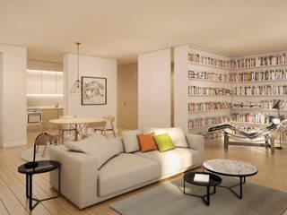 Apartamento em Lisboa - Visualização 3D Salas de estar modernas por Pedro Serrazina Studio Moderno