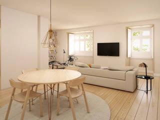 Apartamento em Lisboa - Visualização 3D Salas de jantar modernas por Pedro Serrazina Studio Moderno