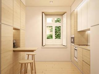 Apartamento em Lisboa - Visualização 3D Cozinhas modernas por Pedro Serrazina Studio Moderno