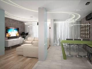 Четырехкомнатная квартира-студия в г.Новосибирске для семьи из четырех человек: Гостиная в . Автор – Гурьянова Наталья