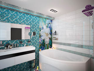 Трехкомнатная квартира в ЖК Звездный в г.Новосибирске: Ванные комнаты в . Автор – Гурьянова Наталья