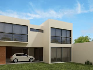 Fachada Posterior: Casas de estilo minimalista por Constructora e Inmobiliaria Catarsis