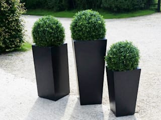 Artificial Topiary Balls Set In Modern Granite Look Planters: eclectic  by Artificial Green, Eclectic
