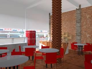 Área de comensales y barra de jugos: Comedores de estilo rústico por Wave Arquitectura