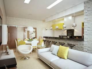 CASA - AMBIENTES INTEGRADOS: Salas de estar  por Lucas Garcia Bonini - Designer de Interiores