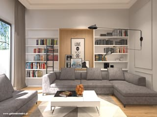 Apartament z klasycznym akcentem Warszawa Ochota: styl , w kategorii Salon zaprojektowany przez Gabinet Wnętrz