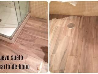 Suelo en baño - Tarima imitación madera especial baño Fecofer, Proyectos y Reformas Baños de estilo rústico Madera Marrón