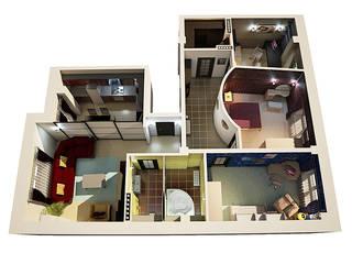 Дизайн 4-х комнатной квартиры Гостиная в стиле лофт от Арт-дизайн студия Юрия Зубенко Лофт